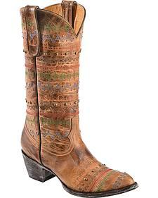 Old Gringo Yippee Ki Yay Line Stitched & Studded Cowgirl Boots - Medium Toe