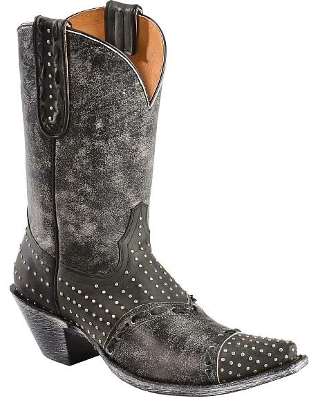 Old Gringo Yippee Ki Yay Studded Stitched Overlay Cowgirl Boots - Snip Toe