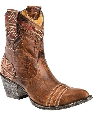 Old Gringo Yippee Ki Yay Alexa Aztec Embroidered Short Cowgirl Boots - Pointed Toe