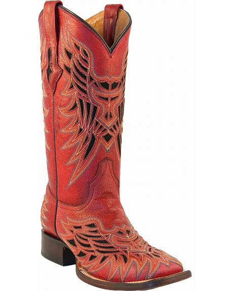 Lucchese Handcrafted 1883 Red Vintage Inlay Cowgirl Boots - Square Toe