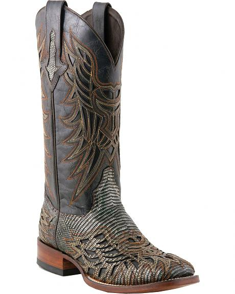 Lucchese Handcrafted 1883 Black Fancy Inlay Lizard Cowgirl Boots - Square Toe