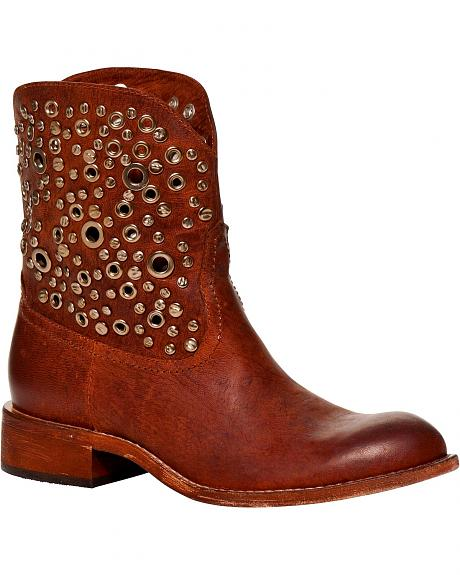 Lucchese Handcrafted 1883  Zoey Short Grommet Boots - Round Toe