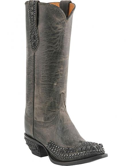Lucchese Handcrafted 1883 Joan Studded Anthracite Cowgirl Boots