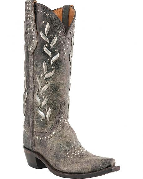 Lucchese Handcrafted 1883 Vine Pattern Brown Calf Cowgirl Boots - Snip Toe