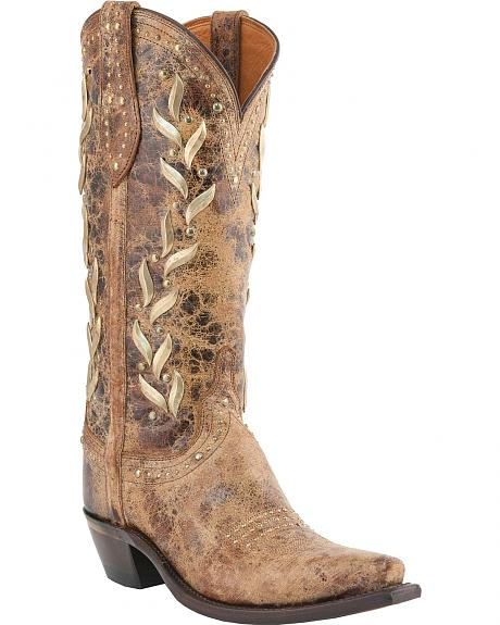 Lucchese Handcrafted 1883 Vine Pattern Tan Calf Cowgirl Boots - Snip Toe