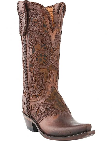 Lucchese Handcrafted 1883 Hand Tooled & Laced Leopard Print Cowgirl Boots