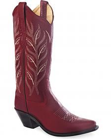 Old West Women's Red Fashion Western Cowboy Boots - Snip Toe