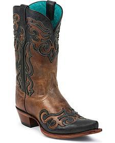 Tony Lama 100% Vaquero Lasso Wingtip Cowgirl Boots - Snip Toe