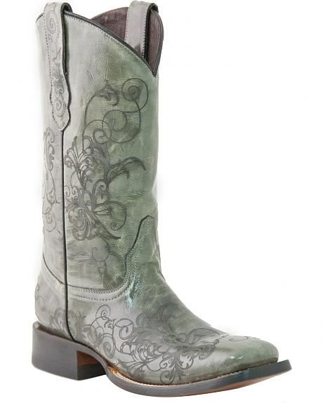Lucchese Handcrafted 1883 Laser Design Spyker Cowgirl Boots - Square Toe