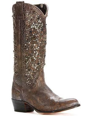 Frye Womens Deborah Studded Tall Boots - Round Toe