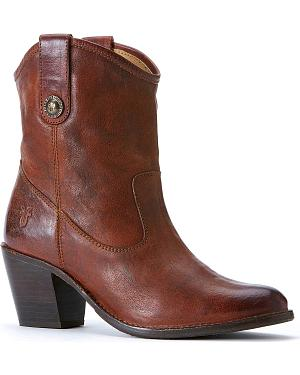 Frye Womens Jackie Button Short Boots - Round Toe