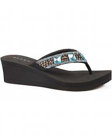 Roper Women's Turquoise Jewel Wedge Sandals
