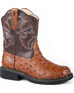 Roper Tan Ostrich Print Cowgirl Boots - Round Toe