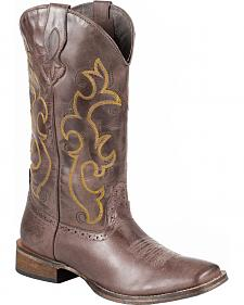 Roper Dark Brown Cowgirl Boots - Square Toe