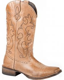 Roper Lindsey Tan Cowgirl Boots - Square Toe