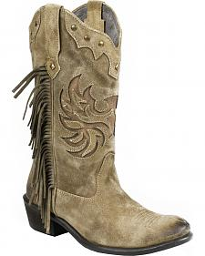Roper Tan Fringe Cowgirl Boots - Round Toe