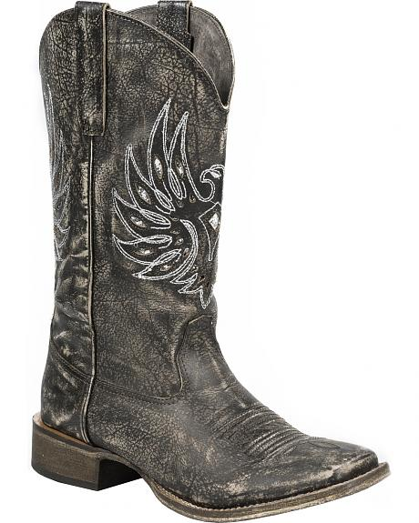 Roper Sanded Brown Eagle Stud Cowgirl Boots - Square Toe
