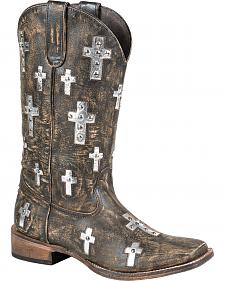 Roper Sanded Cross Cowgirl Boots - Square Toe