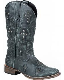 Roper Black Sanded Cross Cowgirl Boots - Square Toe