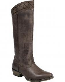 "Roper Brown Embroidered 15"" Cowgirl Boots - Snip Toe"