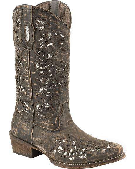 Roper Sanded Leather Brown Glitter Cowgirl Boots - Snip Toe