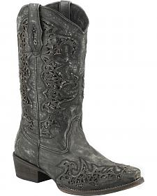 Roper Sanded Leather Black Glitter Cowgirl Boots - Snip Toe