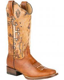 Roper Tan Goat Southwestern Print Cowgirl Boots - Square Toe
