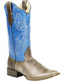 Roper Blue Butterfly Cowgirl Boots - Square Toe