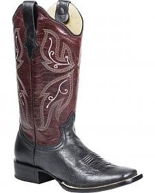 Roper Wine and Black Cowgirl Boots - Square Toe