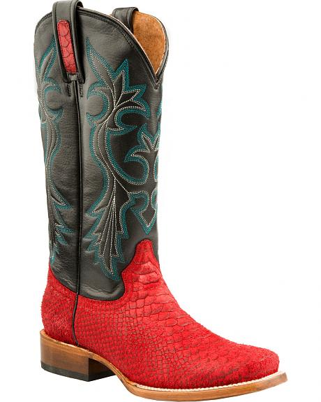 Roper Red Python Print Cowgirl Boots - Square Toe