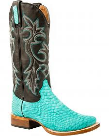 Roper Turquoise Python Print Cowgirl Boots - Square Toe
