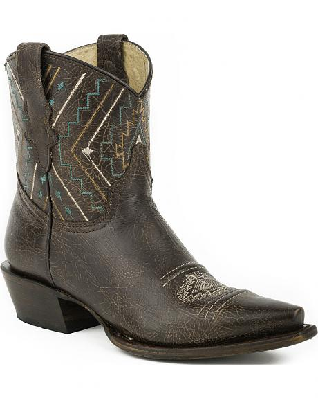 Roper Sanded Brown Short Southwestern Cowgirl Boots - Snip Toe