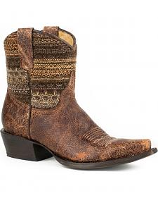 Roper Brown Vintage Distressed Sweater Short Cowgirl Boots - Snip Toe