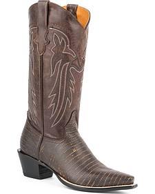 Roper Brown Faux Teju Lizard Cowboy Boots - Snip Toe