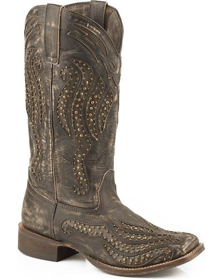 Roper Brown Vintage Studded Cowgirl Boots - Square Toe