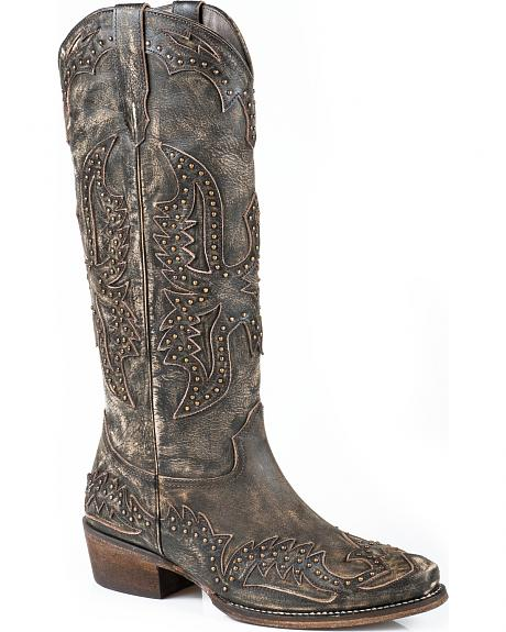 Roper Brown Studded Eagle Cowgirl Boots - Snip Toe