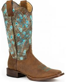Roper Rustic Turquoise Cowgirl Boots - Square Toe