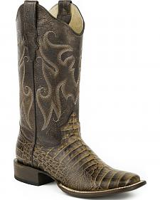 Roper Tan Sanded Croc Belly Print Cowgirl Boots - Square Toe