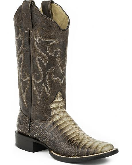Roper Sanded Brown Faux Croc Belly Print Cowgirl Boots - Square Toe