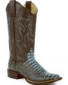 Roper Turquoise Faux Croc Cowgirl Boots - Square Toe