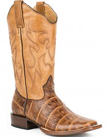 Roper Brown Distressed Croc Print Cowgirl Boots - Square Toe