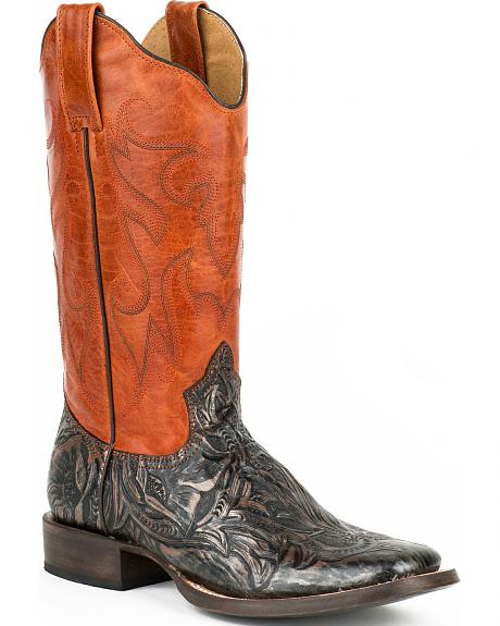 Roper Orange and Brown Handtooled Cowgirl Boots - Square Toe