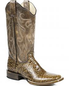 Roper Vintage Tan Faux Hand Tooled Cowgirl Boots - Square Toe