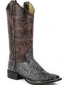 Roper Purple and Silver Faux Tooled Cowgirl Boots - Square Toe