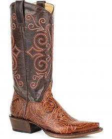 Roper Brown Faux Tooled Cowgirl Boots - Snip Toe