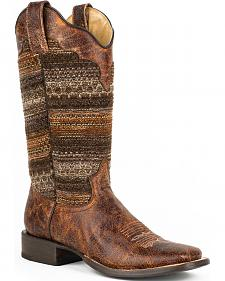 Roper Brown Fabric Vintage Stripe Cowgirl Boots - Square Toe