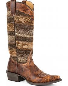 Roper Brown Vintage Distressed Sweater Cowgirl Boots - Snip Toe