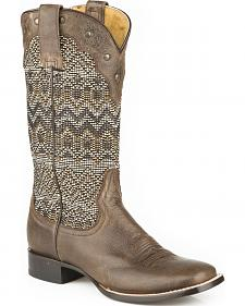 Roper Brown Raffia Straw Cowgirl Boots - Square Toe