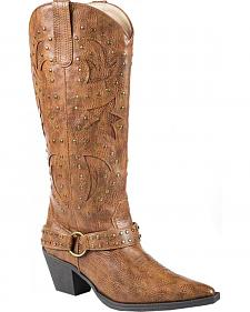 Roper Tumbled Harness Cowgirl Boots - Pointed Toe