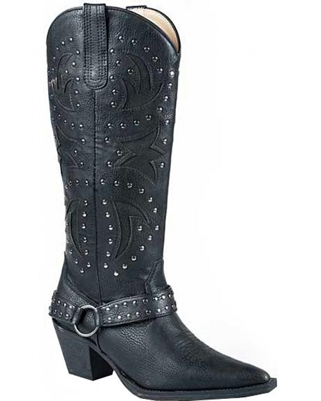 Roper Black Tumbled Harness Cowgirl Boots - Pointed Toe